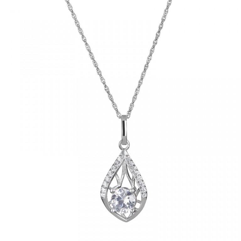 Touch of Elegance - Colier de argint Preciosa (Crystal / White)