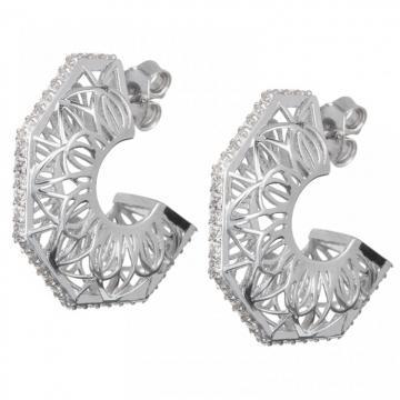 Lotus Bud - Cercei de argint Preciosa (Crystal / White)