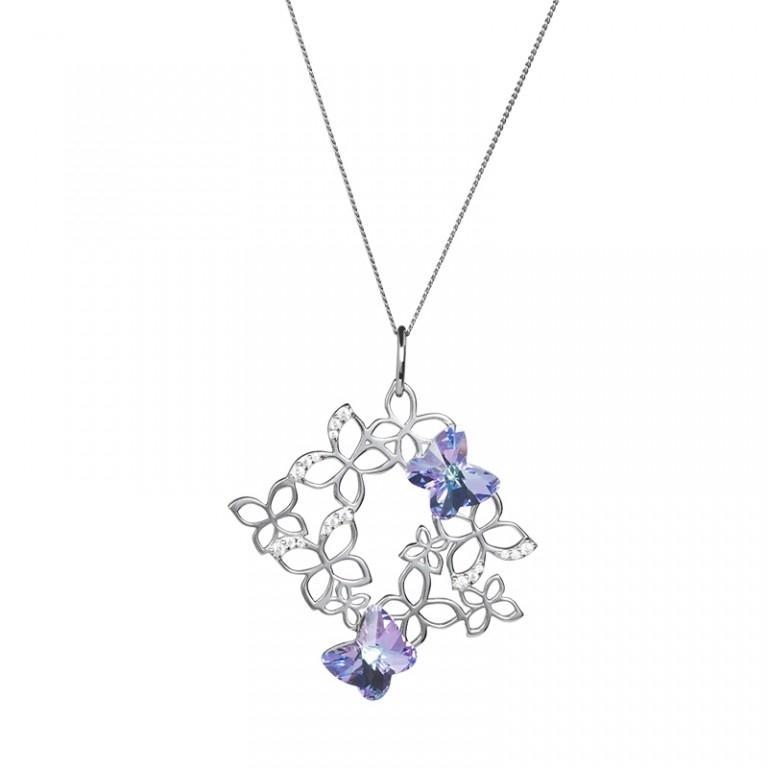 Butterfly Harmony - Colier de argint Preciosa (Pink)