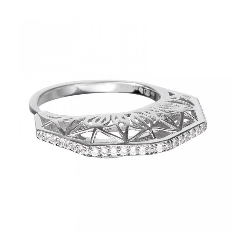 Lotus Bud - Inel de argint Preciosa (Crystal / White)
