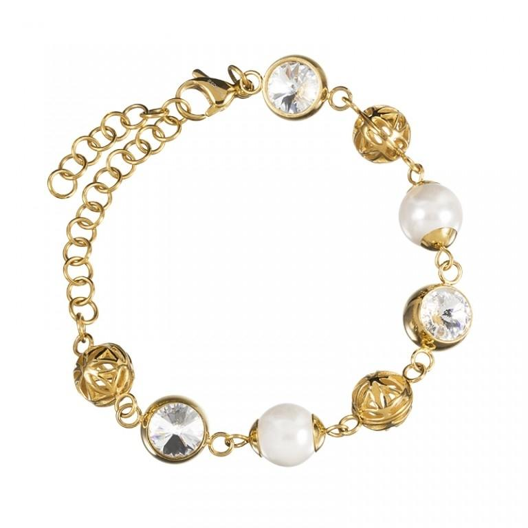 Lotus Pearl - Bratara Preciosa (Crystal / White Gold)