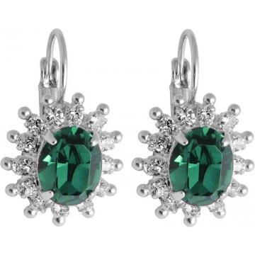 Cercei cu cristale Swarovski FaBOS, Emerald 7440-6282-03