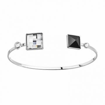 Bratara cu cristale Swarovski FaBOS, Crystal/Black 7450-1321-03