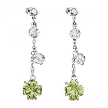 Cercei cu cristale Swarovski FaBOS, Crystal / Green 7440-6337-02
