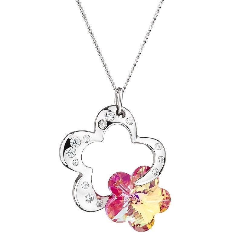 Crystal Flower - Colier de argint Preciosa (Fuchsia)